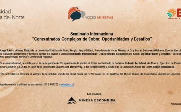 """Seminario Internacional """"Concentrados Complejos de Cobre: Oportunidades y desafíos"""""""