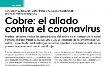 Cobre: el aliado contra el Coronavirus